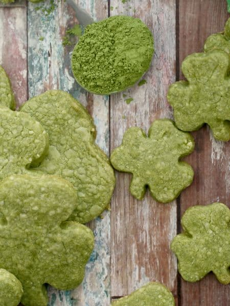 Matcha shamrock shortbread cookie recipe