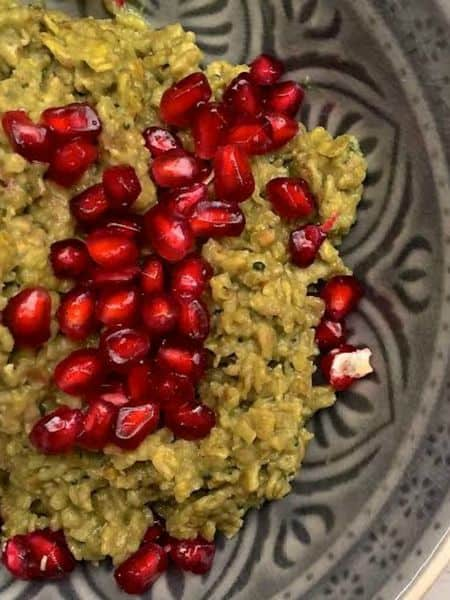 matcha porridge with pomegranate