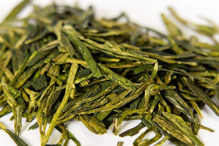 Longjing or Dragon Well green tea leaves from China