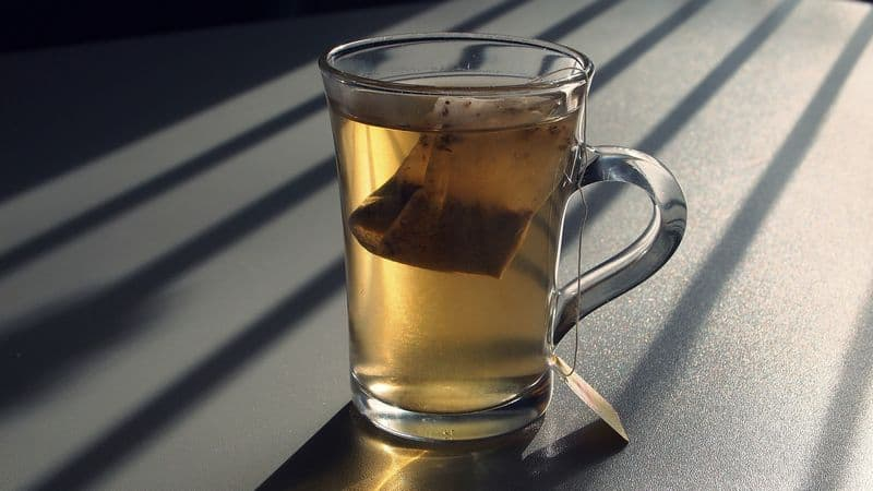 tea brewed from a bag