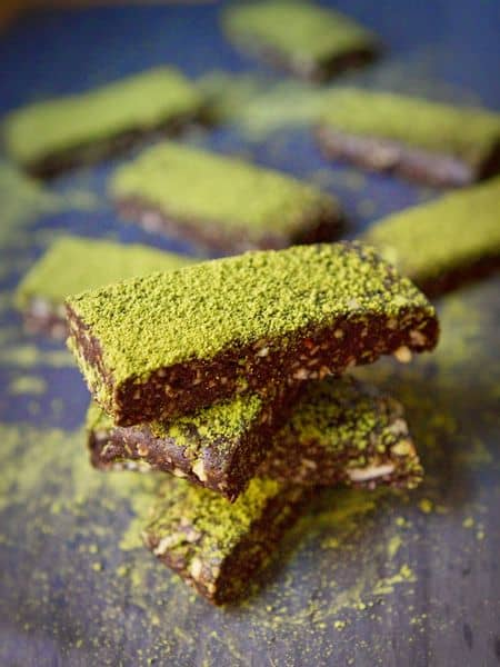 Dark chocolate matcha date bar