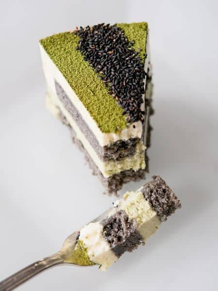 recipe for matcha sesame mousse cake