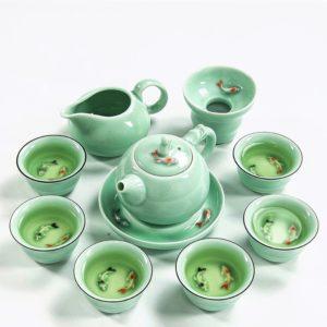 Chinese Celadon Fish Tea Set