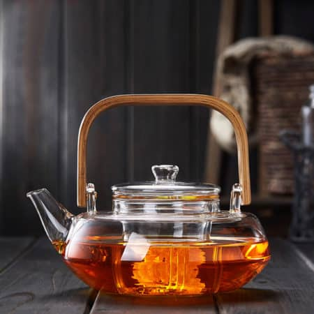 Bamboo Handle Glass Teapot With Glass Strainer