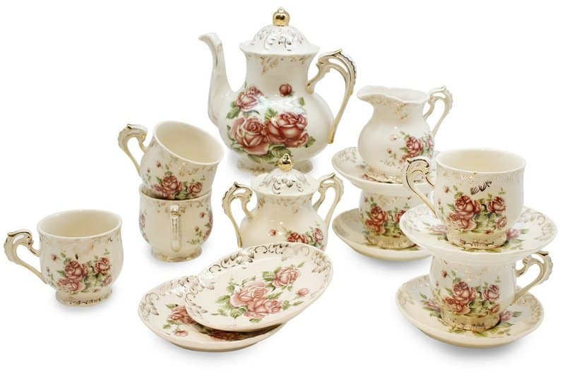 European Red Rose Tea Service Set