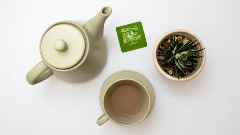 teapot and green tea