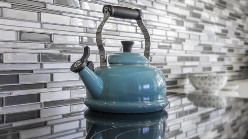 kettle heating on stove