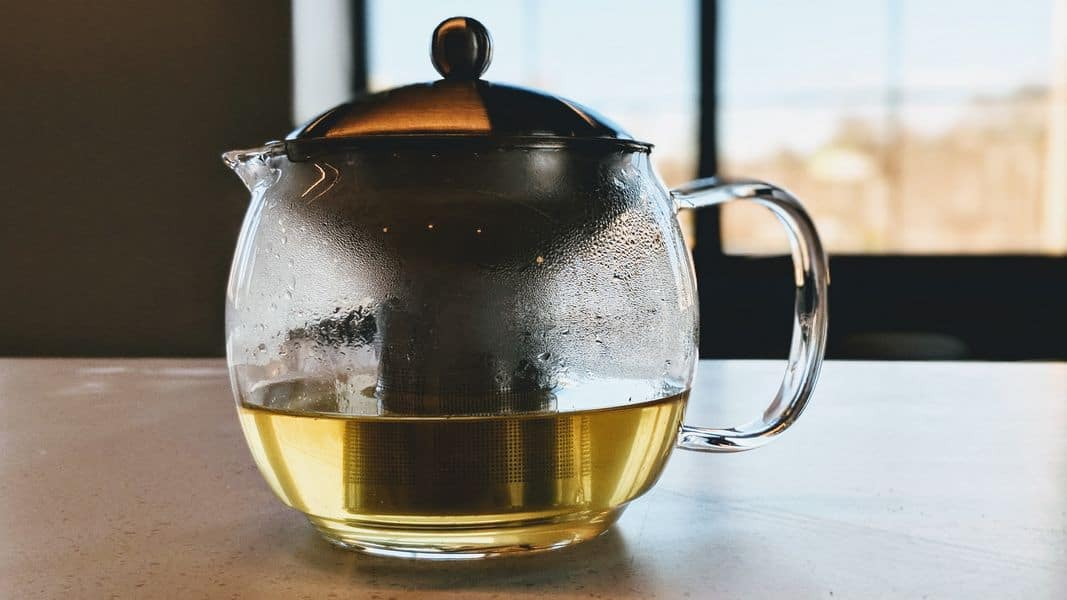 tea infuser basket in a teapot