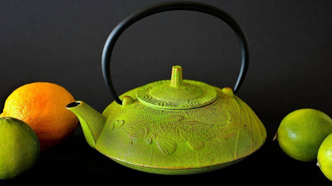 A beautiful clean green teapot