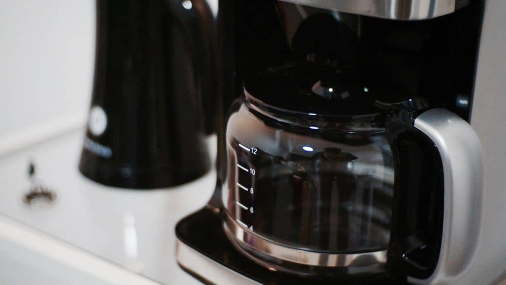 A coffee maker heating water