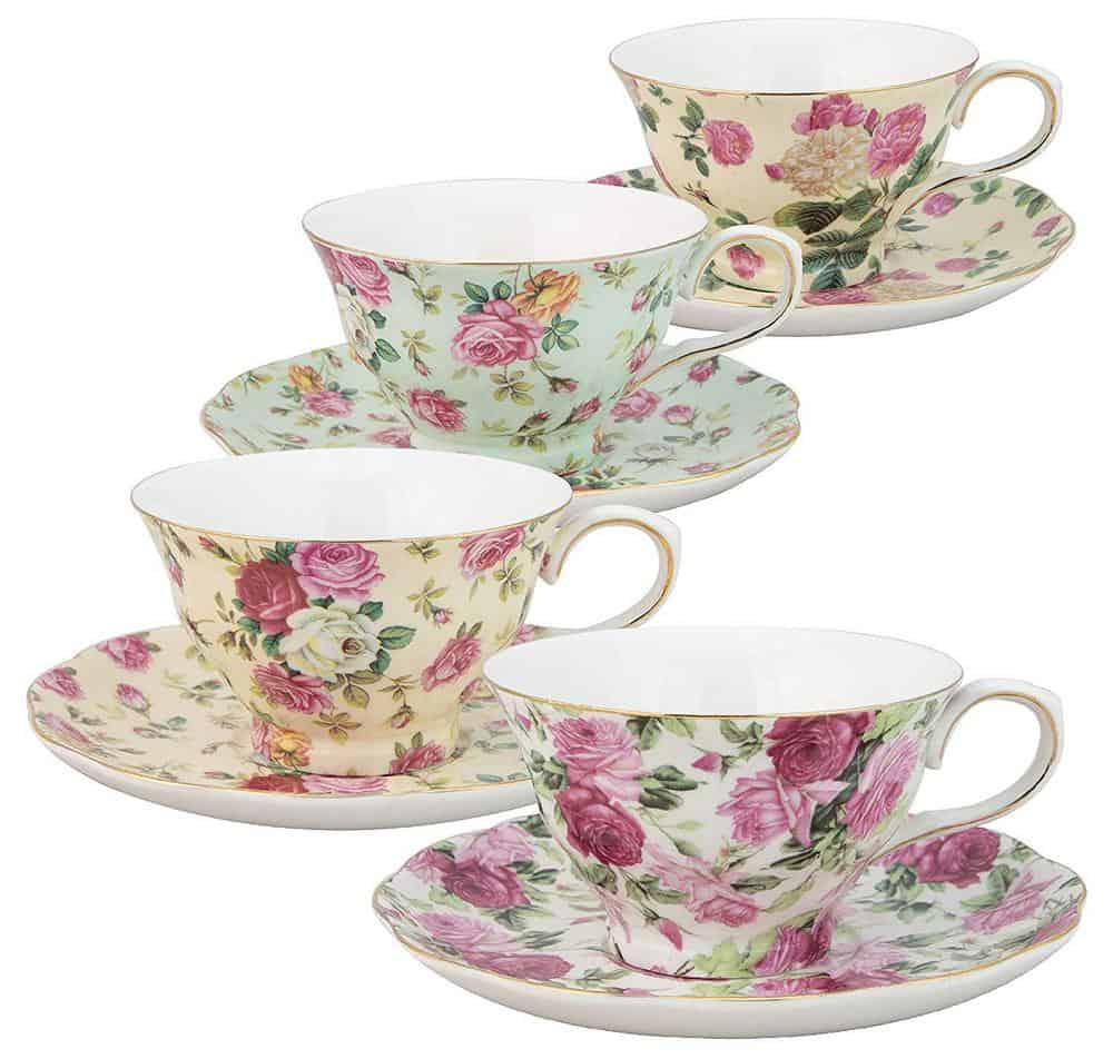 Coastline Imports Gracie China Teacups and Saucers