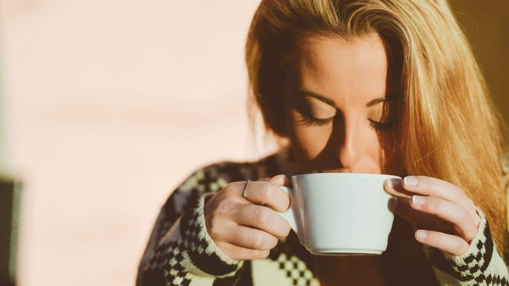 Woman enjoying tea at ideal temperature