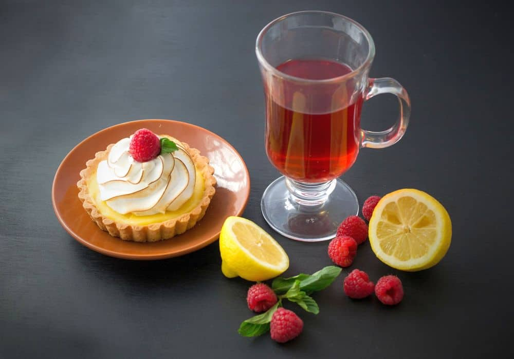 Sweet cupcake served with tea