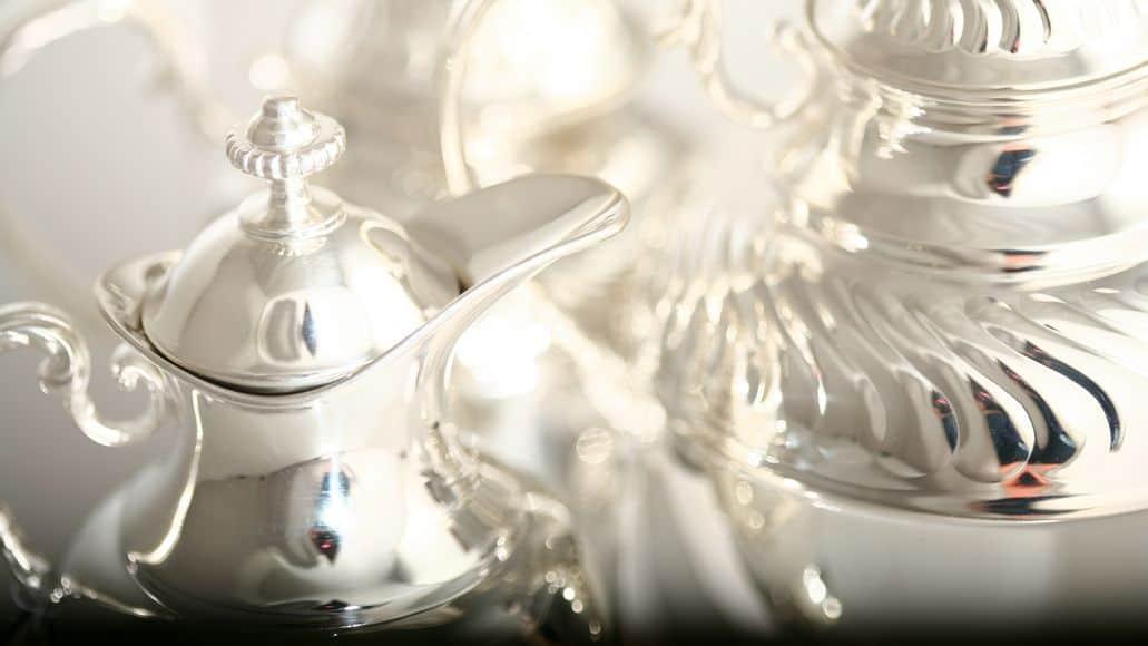 shiny silver teapot